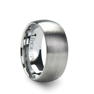 8 mm brushed finish rounded tungsten carbide ring