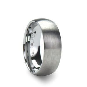 6 mm brushed finish rounded tungsten carbide ring