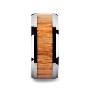 10 mm red oak wood inlaid tungsten carbide ring with beveled edges