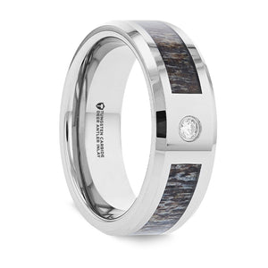 8 mm tungsten ring with an ombre deer antler inlay, a diamond setting and polished beveled edges