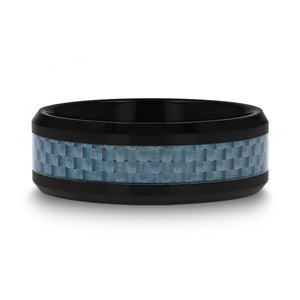4 mm black ceramic wedding band with a blue carbon fiber inlay and beveled edges