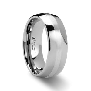 domed tungsten carbide ring with palladium inlaid