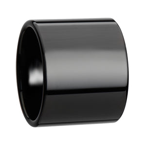 20 mm flat black pipe cut tungsten ring with a polished finish