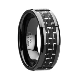 8 mm black ceramic ring with a silver and black carbon fiber inlay and beveled edges