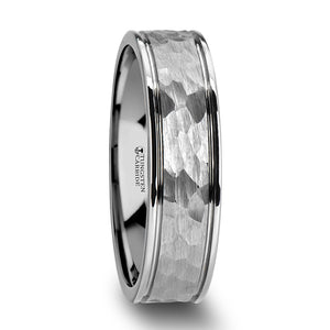 tungsten ring with a hammered finish and dual offset grooves