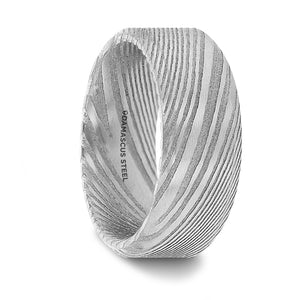 8 mm damascus steel wedding band with a vivid etched design