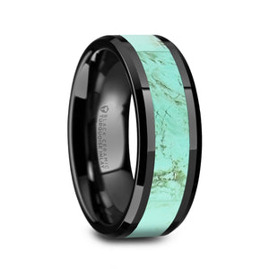 6 mm black ceramic wedding band with a turquoise stone inlay and polished beveled edges