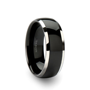 8 mm domed tungsten ring with a black ceramic inlay