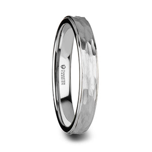 6 mm men's tungsten ring with a hammered finish