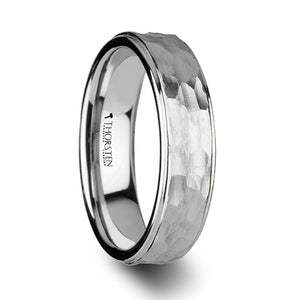 10 mm men's tungsten ring with a hammered finish