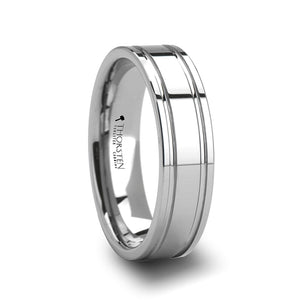 4 mm tungsten carbide ring with dual offset grooves
