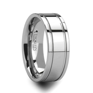 8 mm tungsten carbide ring with dual offset grooves