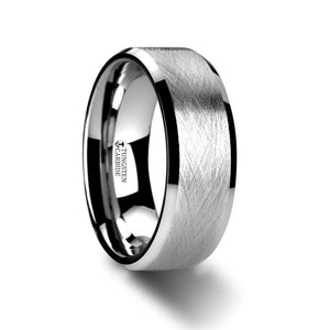 flat tungsten carbide ring with a wire brushed finish and beveled edges