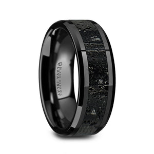 8 mm ceramic wedding ring with a black and gray lava rock stone inlay and polished beveled edges