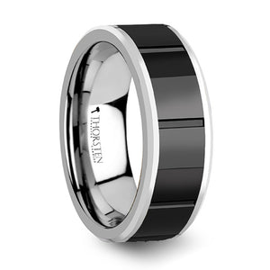 8 mm tungsten wedding band with a grooved black ceramic inlay