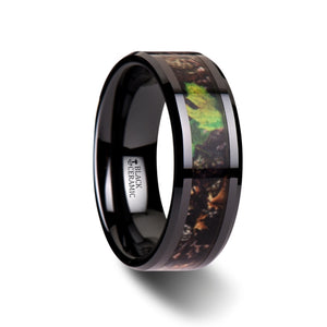 8 mm ceramic wedding band with a tree camo inlay and beveled edges