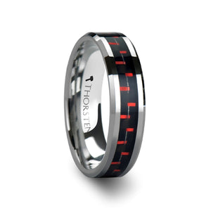 6 mm and red carbon fiber inlaid tungsten ring
