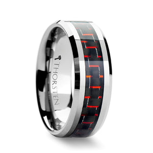 8 mm and red carbon fiber inlaid tungsten ring