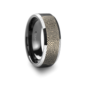 8 mm tungsten ring with a fingerprint design and polished beveled edges