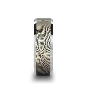 6 mm tungsten ring with a fingerprint design and polished beveled edges
