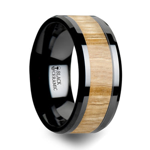 10 mm ceramic ring with an ash wood inlay and polished beveled edges