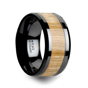 8 mm ceramic ring with an ash wood inlay and polished beveled edges