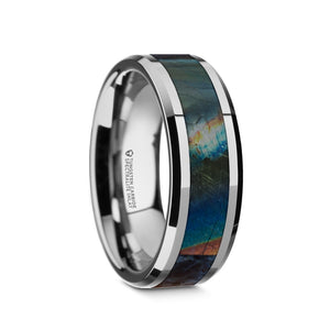 tungsten wedding ring with a spectrolite inlay and a polished finish