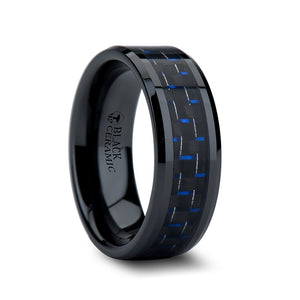 8 mm black ceramic ring with a blue and black carbon fiber inlay