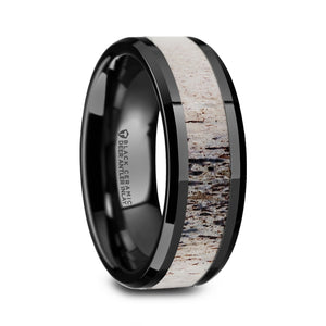 black ceramic polished wedding band with an ombre antler inlay