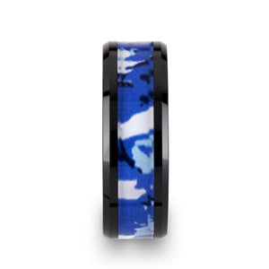 6 mm black ceramic ring with a blue and white camouflage inlay
