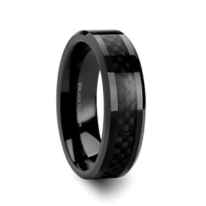 6 mm black titanium wedding band with a black carbon fiber inlay and polished beveled edges
