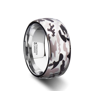10 mm domed tungsten carbide ring with a black and gray camo design