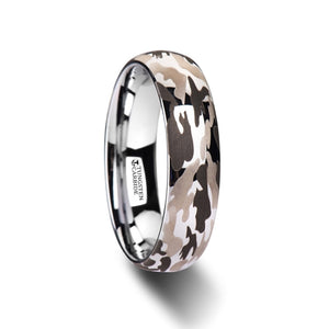 4 mm domed tungsten carbide ring with a black and gray camo design
