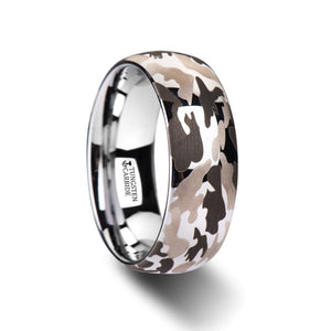 6 mm domed tungsten carbide ring with a black and gray camo design