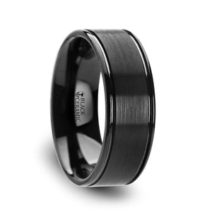 7 mm flat brushed ceramic ring with offset grooves and polished edges