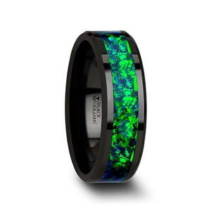 5 mm black ceramic wedding band with beveled edges and an emerald green and sapphire blue opal inlay