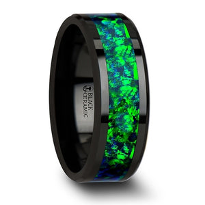 8 mm black ceramic wedding band with beveled edges and an emerald green and sapphire blue opal inlay