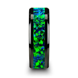 6 mm black ceramic wedding band with beveled edges and an emerald green and sapphire blue opal inlay