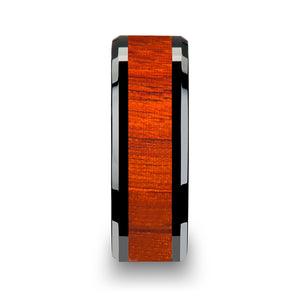 5 mm black ceramic men's ring with an authentic padauk wood inlay
