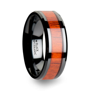 6 mm black ceramic men's ring with an authentic padauk wood inlay