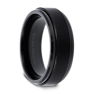8 mm black tungsten wedding band with a spinning center