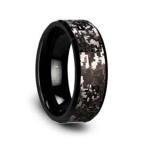 8 mm black tungsten carbide wedding ring with an engraved black digital camo design