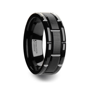 10 mm black tungsten wedding band with a brush finished center and alternating cut-out grooves