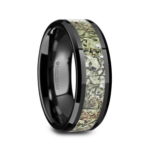 8 mm black ceramic wedding band with a light green dinosaur bone inlay and polished beveled edges