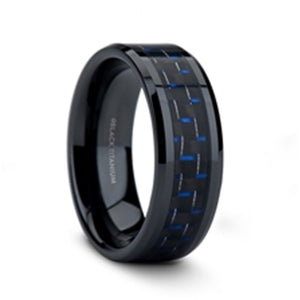 black titanium ring with a blue and black carbon fiber inlay and beveled edges