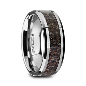 polished tungsten carbide ring with a dark brown antler inlay