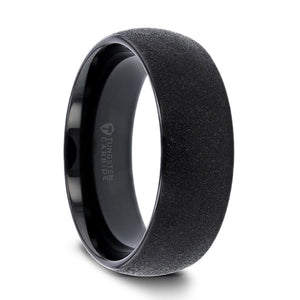 8 mm black domed tungsten ring with a sandblasted crystalline finish