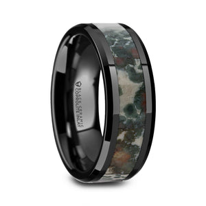 black ceramic wedding band with a coprolite fossil inlay