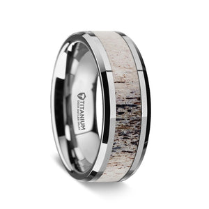 titanium men's wedding band with an ombre deer antler inlay
