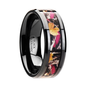 8 mm black ceramic wedding band a multi-color tree camo inlay
